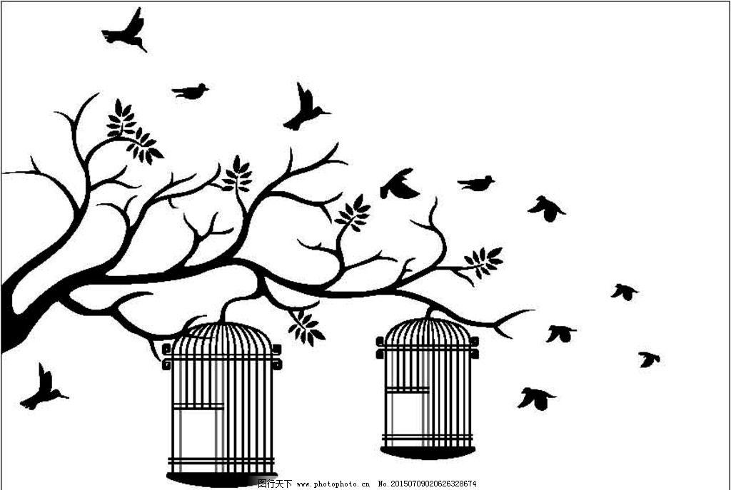 剪影卡通鸟树枝鸟笼图片