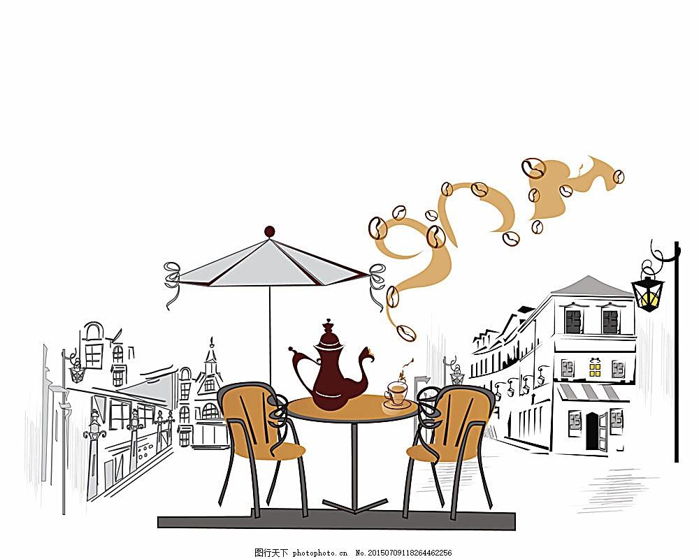 咖啡店插画背景