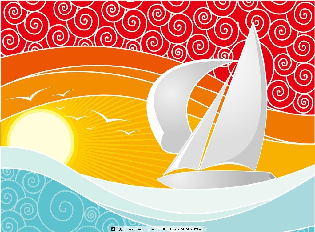 夕阳海浪帆船背景图片