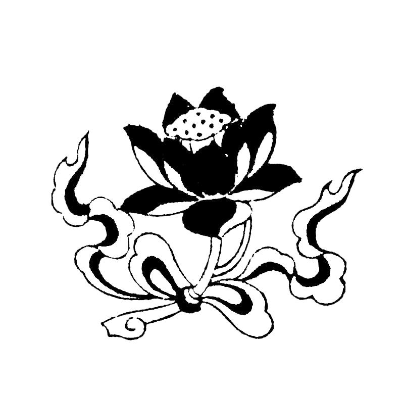 黑白手绘荷花图片免费下载