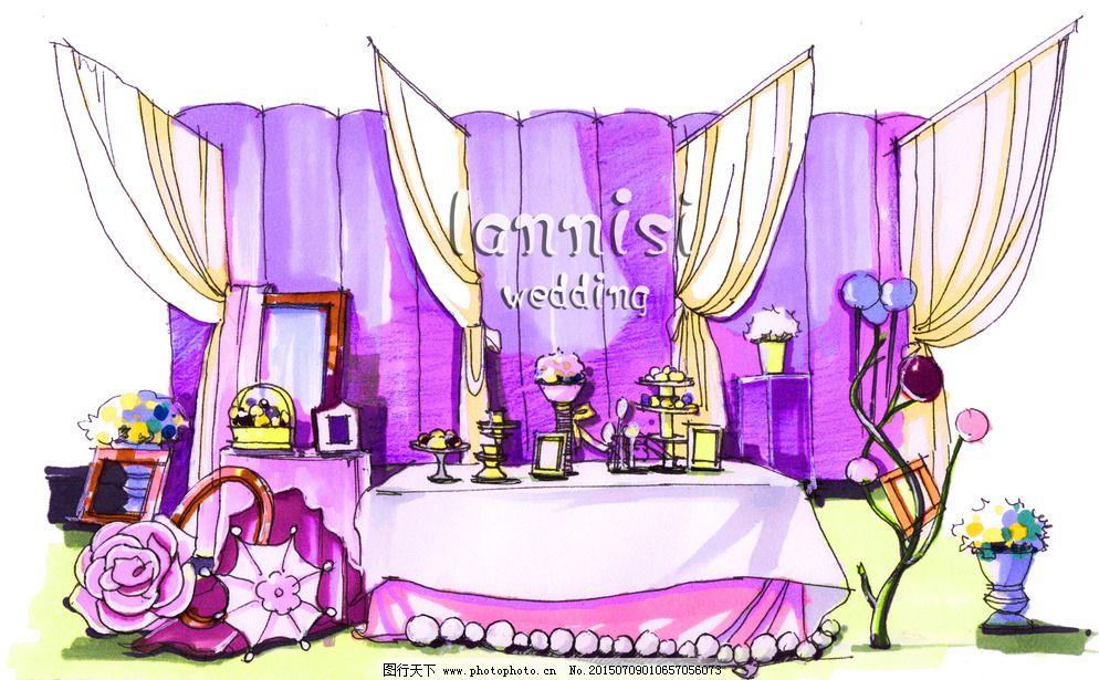 婚礼照片展示区手绘效果图图片