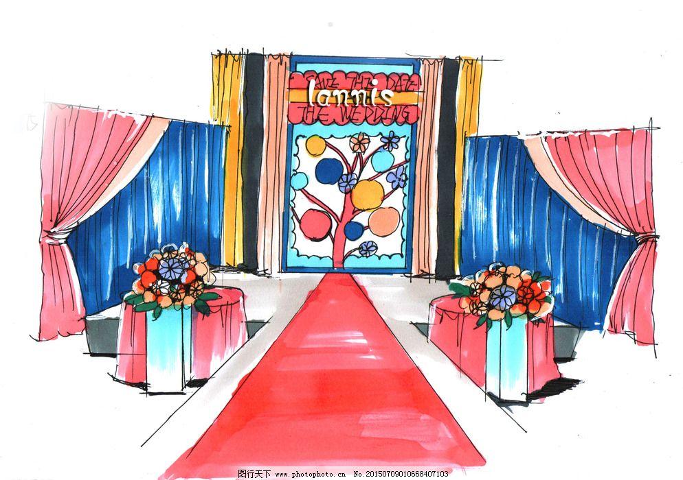 主题婚礼手绘稿图片