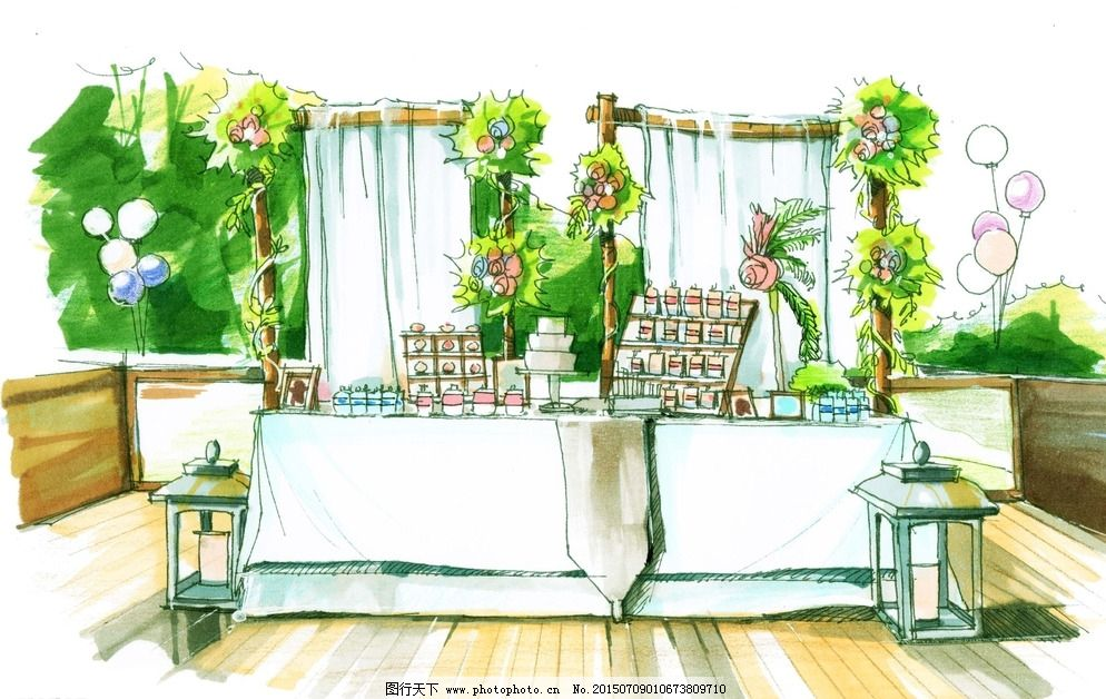 婚礼布置 手绘培训 兰尼斯 长沙婚礼 婚礼手绘学习 婚礼效果图 户外婚