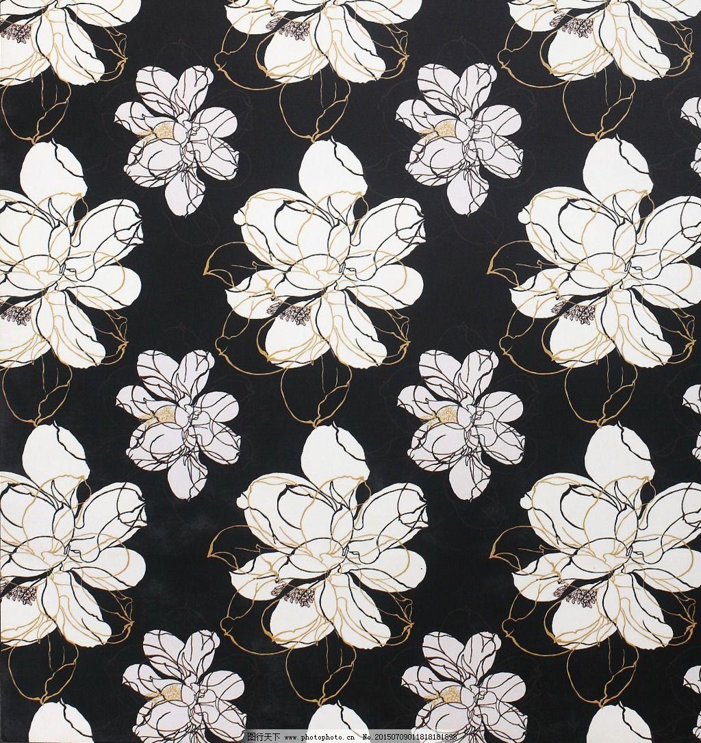 黑白花朵墙纸图片