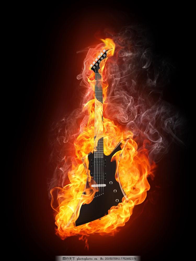 燃烧的吉他 火焰 火苗 烟雾 乐器 音乐素材 影音娱乐 生活百科
