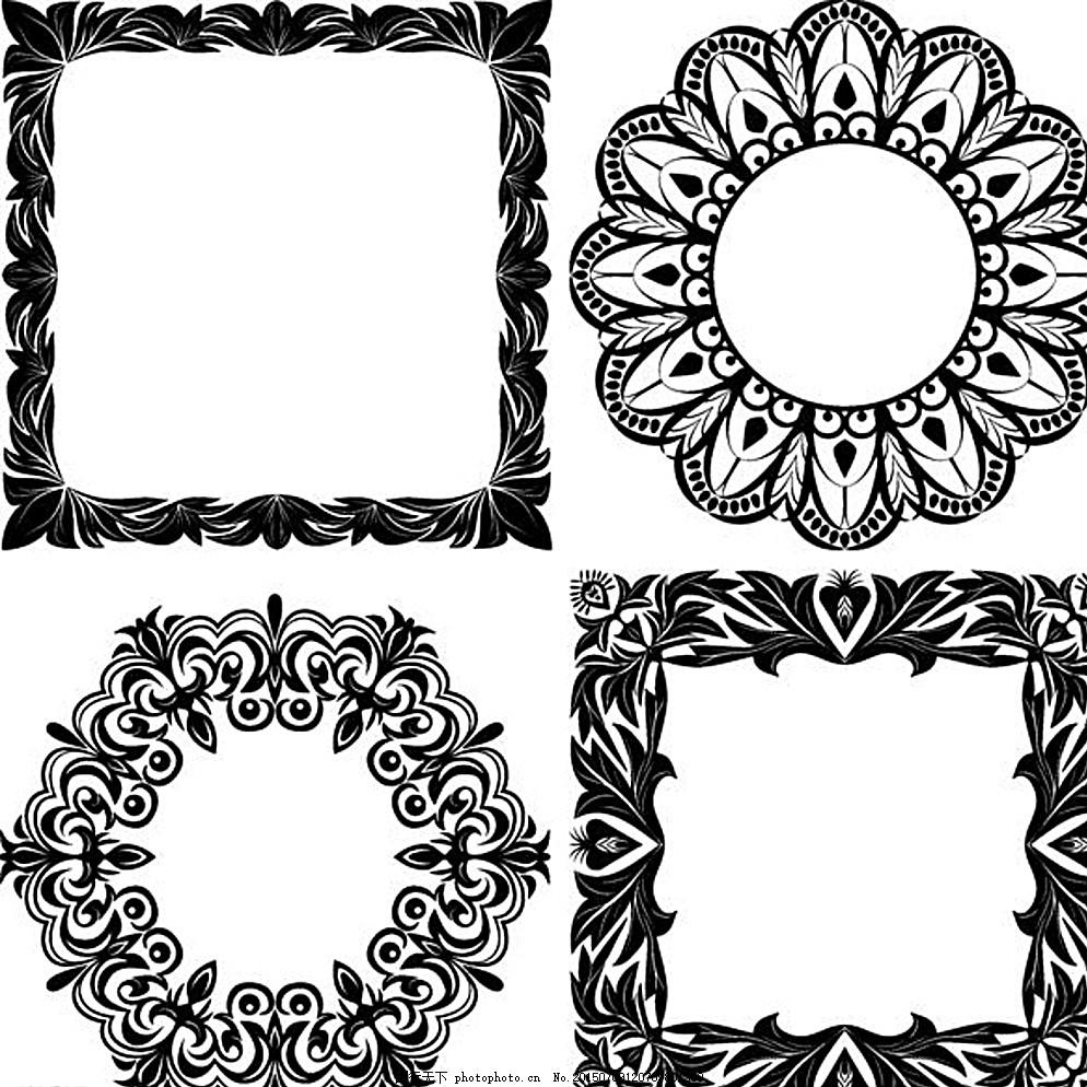 古典花纹 花纹花边 底纹边框 矢量素材 ai      设计 花边花纹 白色