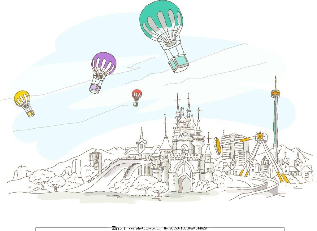 迪斯尼 乐园 城堡 游乐场 热气球 过山车 蓝天 迪斯尼乐园 线条画