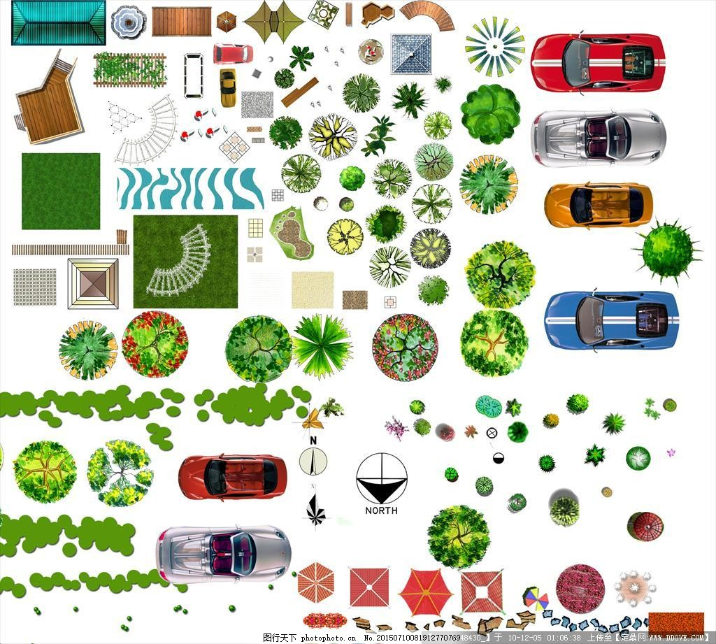 平彩树植物汽车景观小品平面图 平彩 树 植物 灌木 景观小品 建筑规划