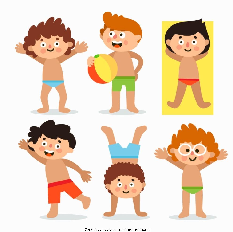 卡通男孩学游泳 孩子 男孩 海滩 假期 泳装 泳衣 学游泳 小男孩 游泳