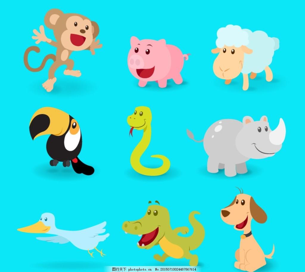 天鹅 鳄鱼 狗 宠物 小狗 海洋生物 插画 背景 海报 画册 矢量动物