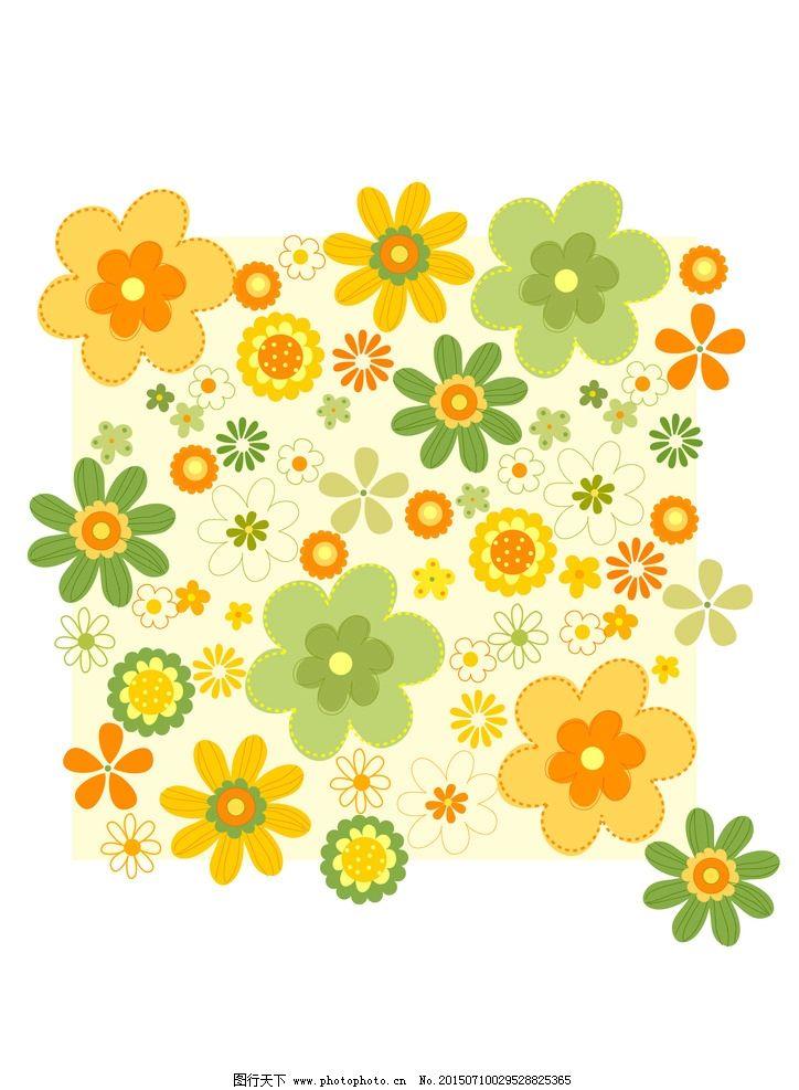 可爱花花 爱心 黄色 碎花 春天小花朵 小碎花 树叶 叶子 手绘花纹
