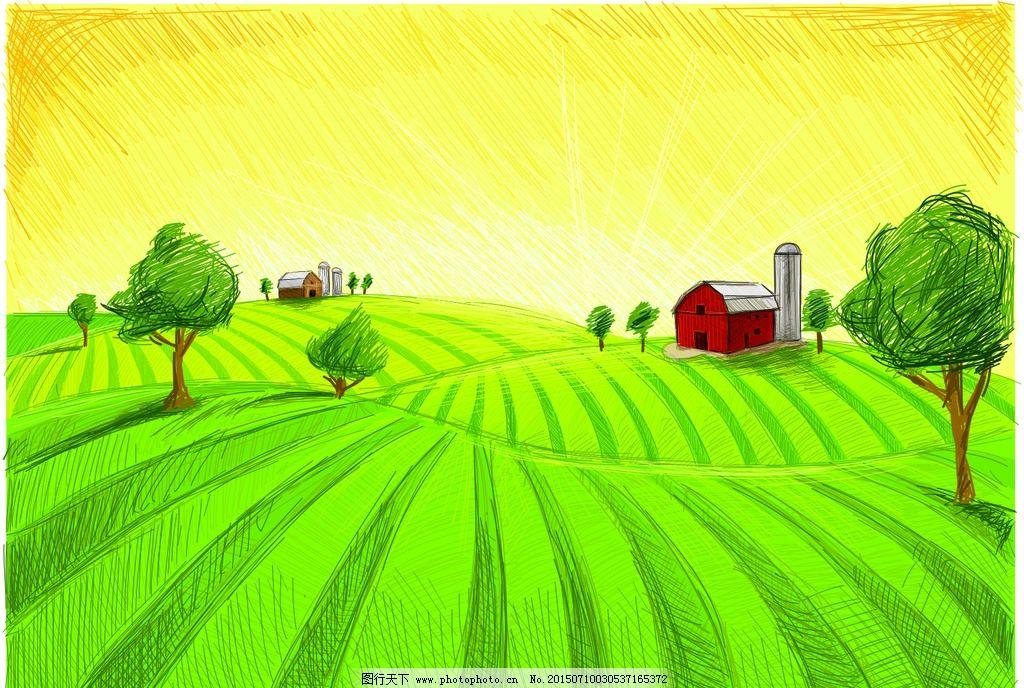 手绘 田野 农场 草地 草坪 卡通 矢量素材 矢量 素材 手绘田野 设计