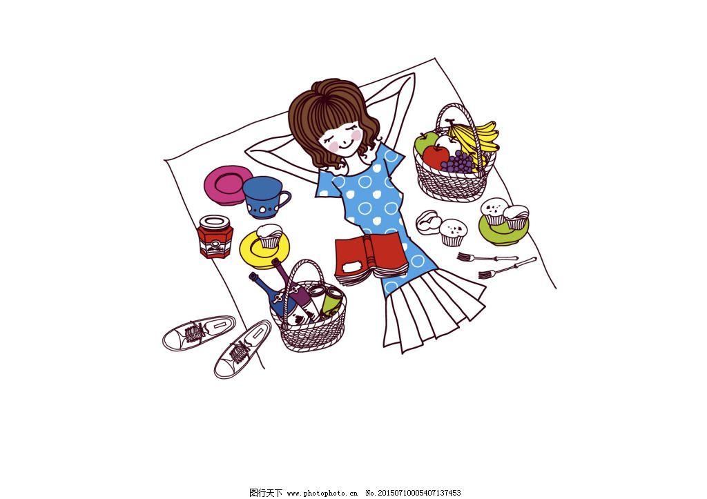 手绘女孩野餐