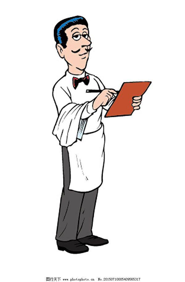 简笔画 配图 西方卡通 卡通人物 漫画人物 通动物 餐厅 服务员 矢量图