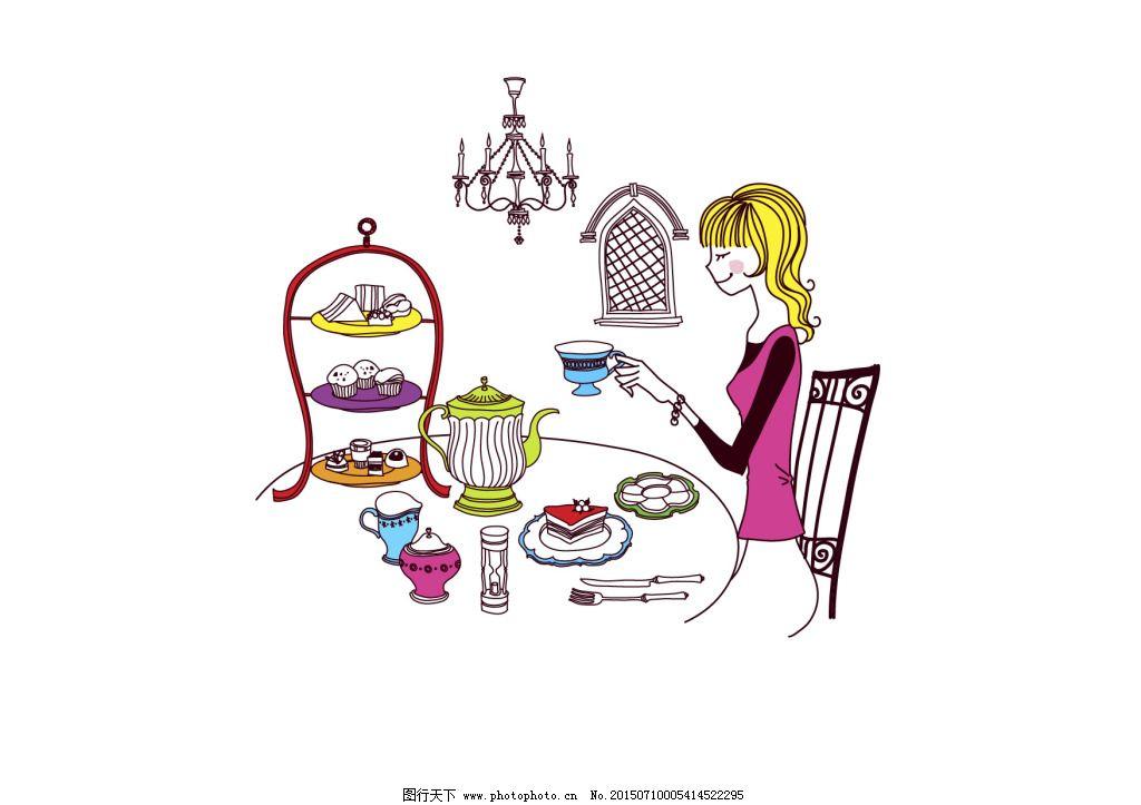 手绘女孩下午茶蛋糕