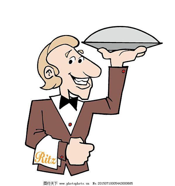 餐厅 插画 服务员 简笔画 卡通 卡通人物 漫画 漫画人物 配图 手绘