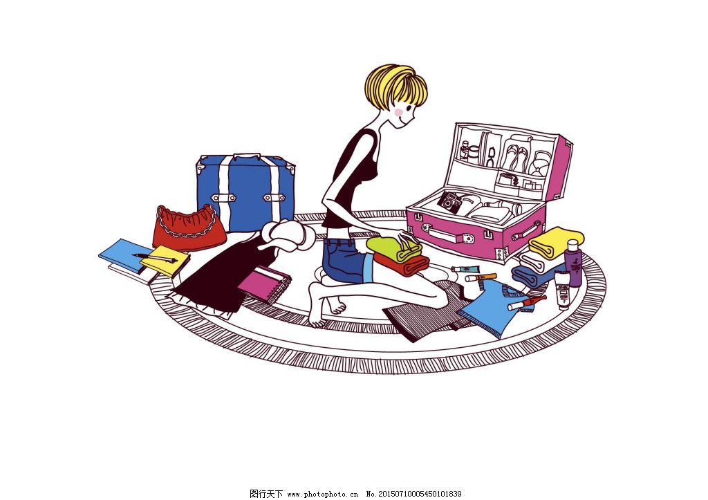 手绘女孩行李旅游