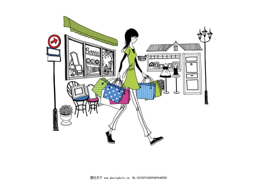 购物 女孩 手绘 衣服 手绘 女孩 购物 衣服 矢量图 矢量人物