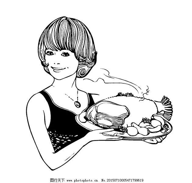西式漫画 简笔画 配图 卡通人物 漫画人物 儿童画 卡通动物 餐厅 服务