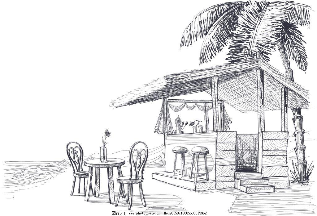 咖啡厅顶视图手绘