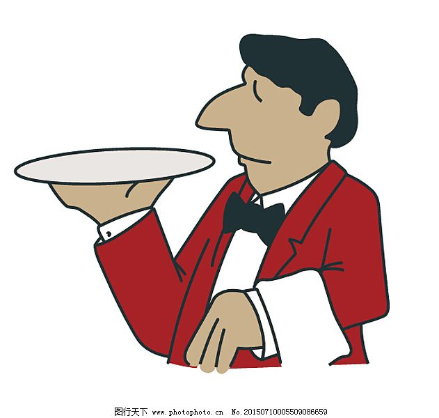 餐厅服务员,插画 儿童画 简笔画 卡通 卡通人物 漫画