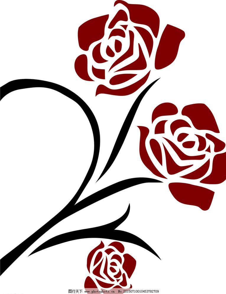 cdr 广告设计 黑色 红色 花 玫瑰 设计 矢量图        移门图案 玫瑰