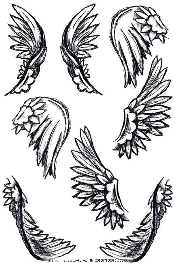铅笔手绘素描天使羽毛翅膀ps笔刷