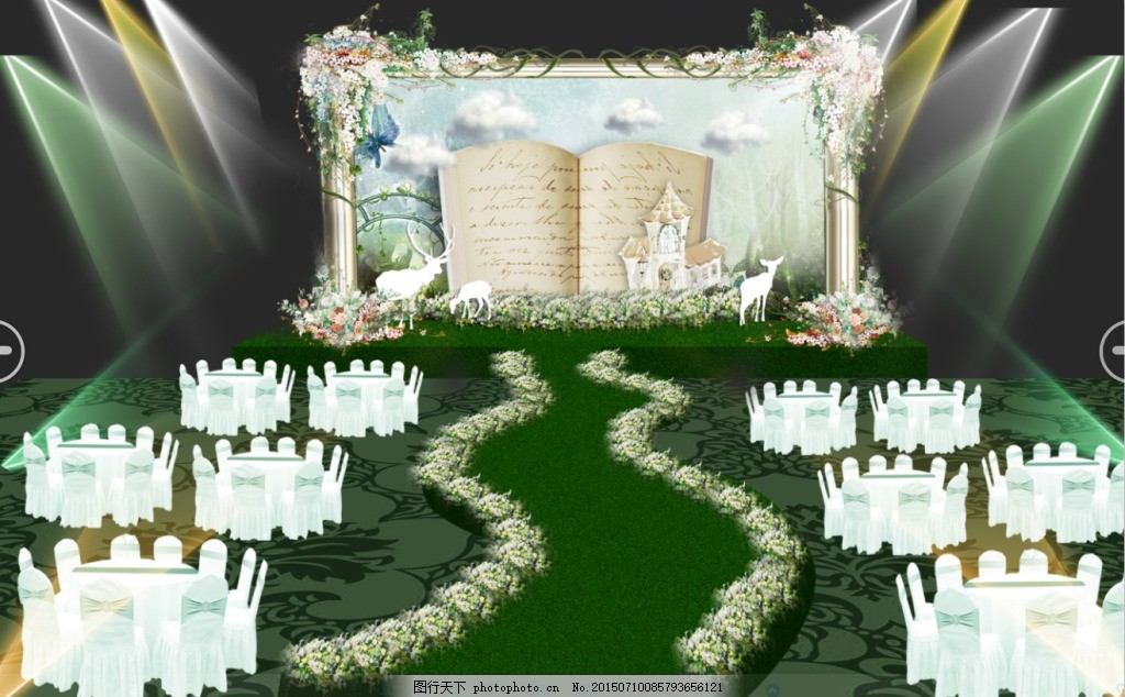森系婚礼效果图 绿色 清新 婚礼        示意图 背景 森系婚礼 灯光