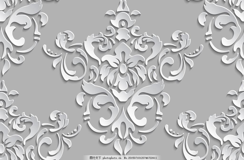 欧式对称雕刻花纹 花纹雕刻 立体花纹 欧式花纹 大气花纹 白色花纹