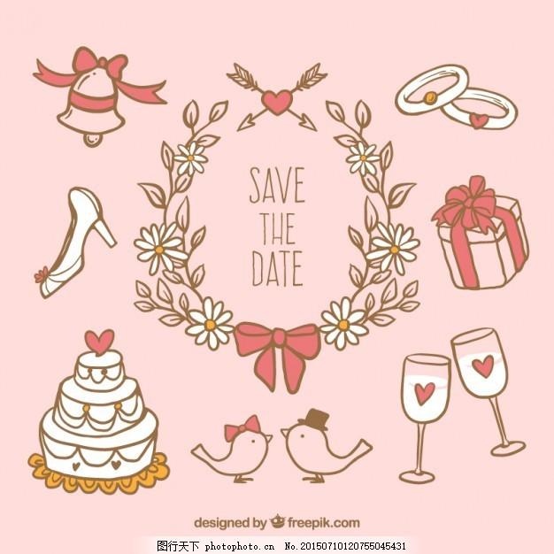 手绘风格的可爱婚礼元素 婚纱 花 蛋糕 礼品 手画 庆典 香槟