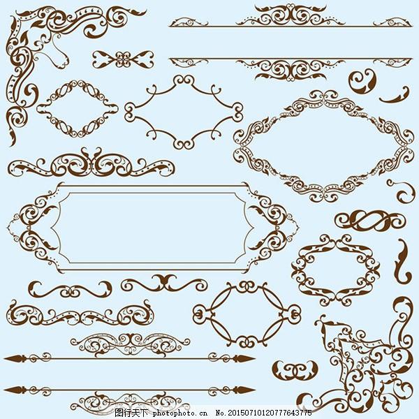 欧式花纹花边设计矢量素材 角花纹 对角花纹 装饰花纹 古典花纹