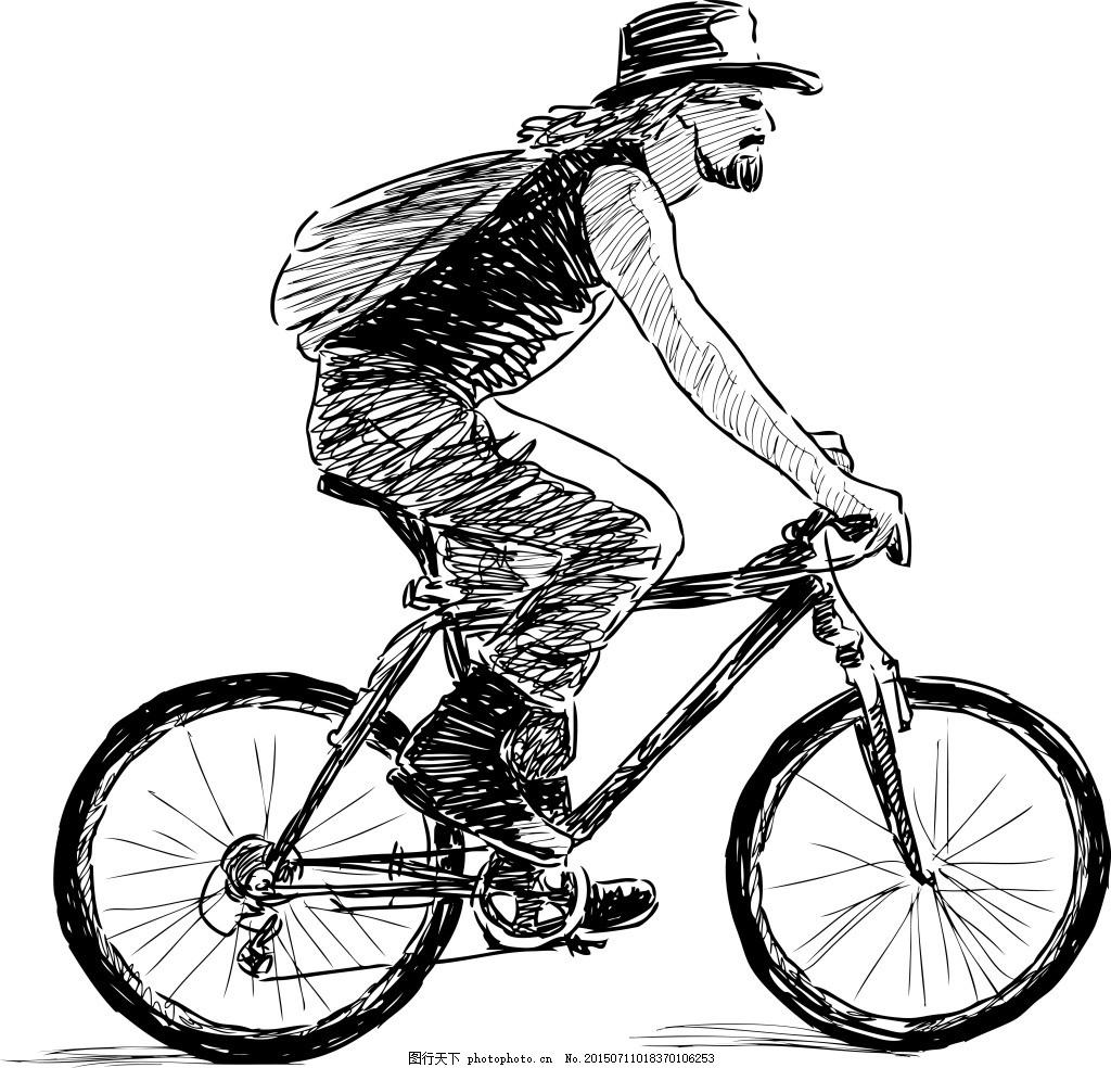 素描人物 运动 骑自行车 人物 素描 ai 白色 ai