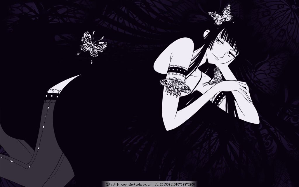 黑色少女唯美免费下载 背景 可爱 少女 背景 少女 可爱 图片素材 卡通