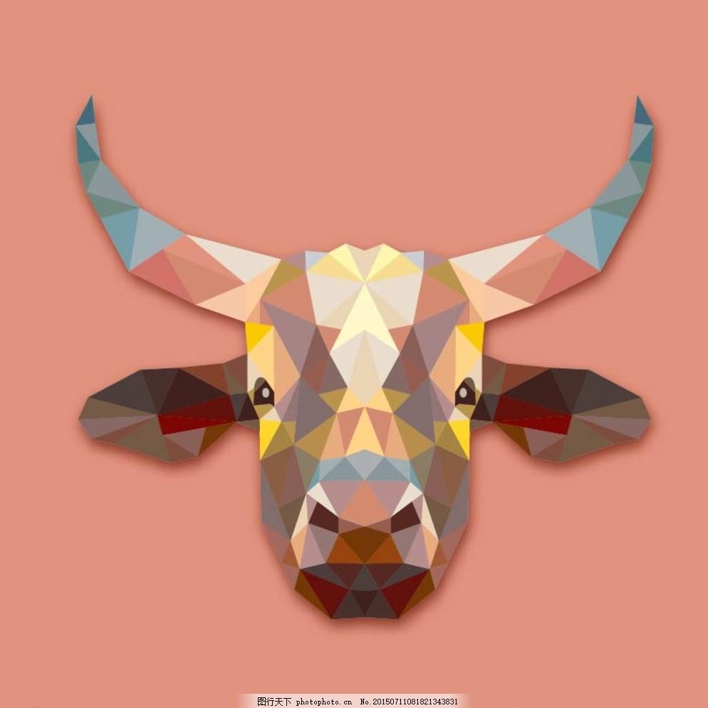 几何动物牛矢量图片