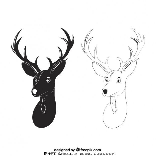 设计图库 动漫卡通 卡通动物  鹿头的手绘风格 一方面 动物 手绘 鹿