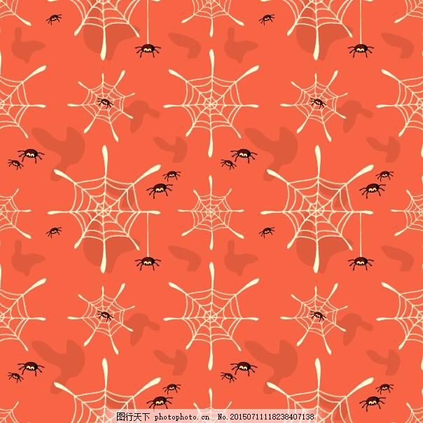 蜘蛛和蜘蛛网无缝背景矢量图 万圣节 橙色