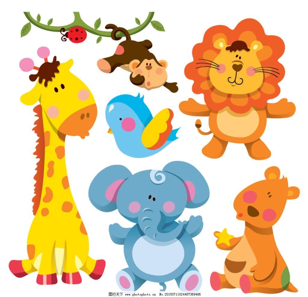 7款可爱卡通动物矢量素材图片