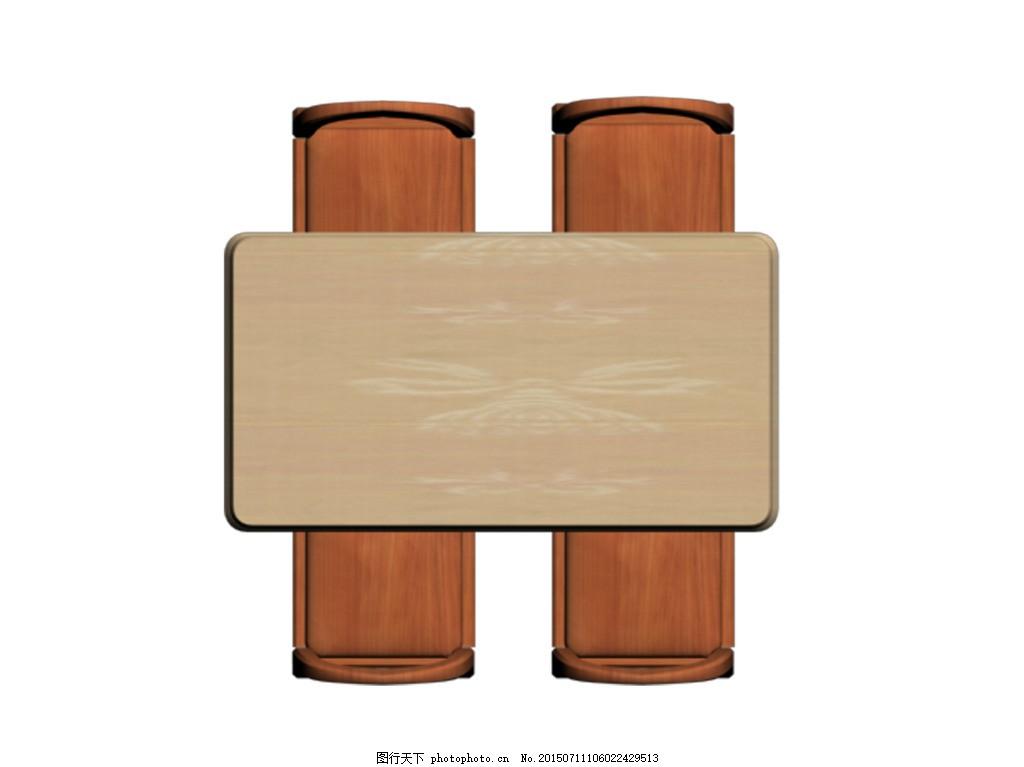 复古餐桌组合 桌椅平面图 白色