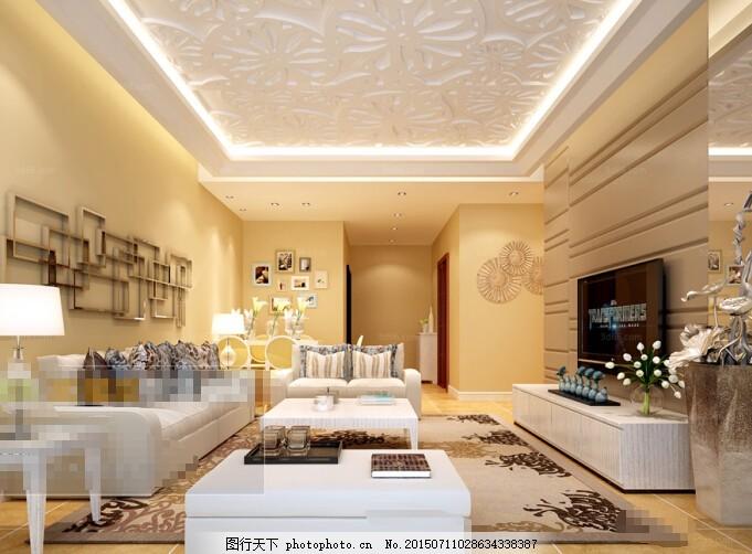 软包客厅效果图 欧美 装修 欧式沙发 华丽 黄色