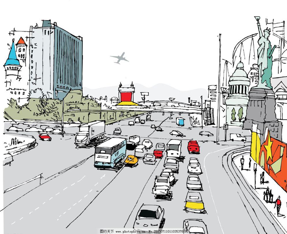 素描 速写 建筑写生 线描 建筑轮廓 卡通 手绘 风景 背景 矢量 城市建