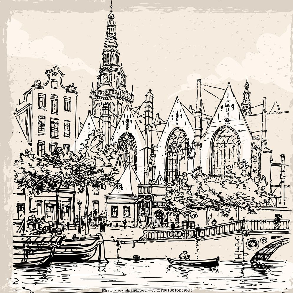 手绘建筑 素描 手绘建筑 欧洲建筑 建筑园林 著名建筑 素描 城堡 欧式