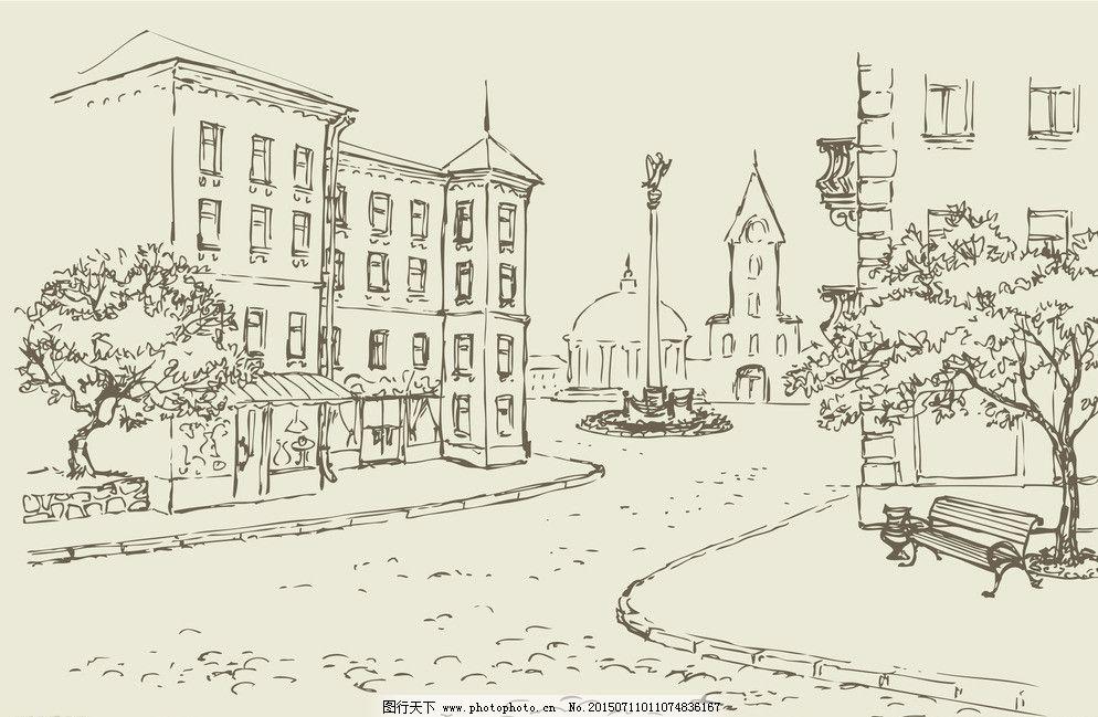 手绘建筑 素描 手绘建筑 欧洲建筑 素描 线描 绘画书法 建筑园林 欧式