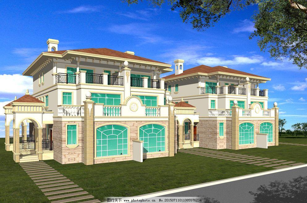 别墅建筑 别墅外观 设计素材 室外 欧美别墅 别墅外观模板下载