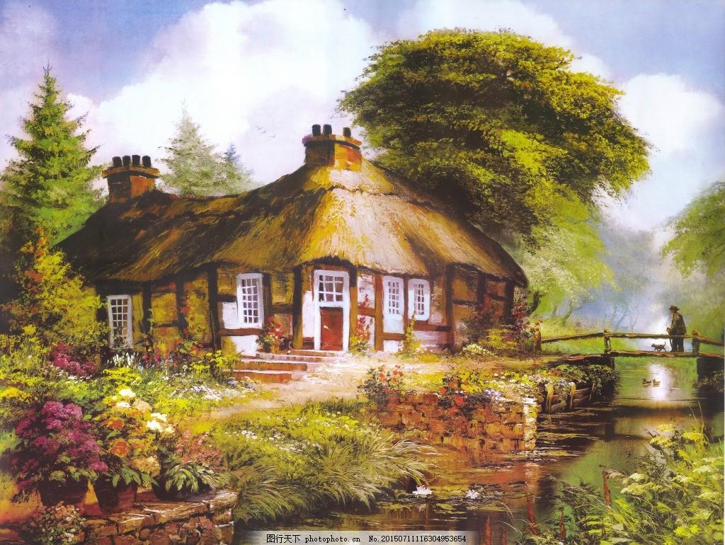 油画 欧式油画 风景 小屋 白色