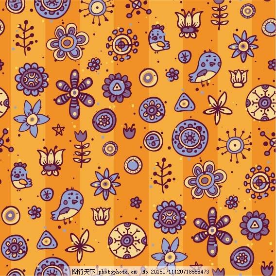 卡通图案背景 卡通 卡通图案 背景图案 可爱 花边 花纹 eps 橙色 eps
