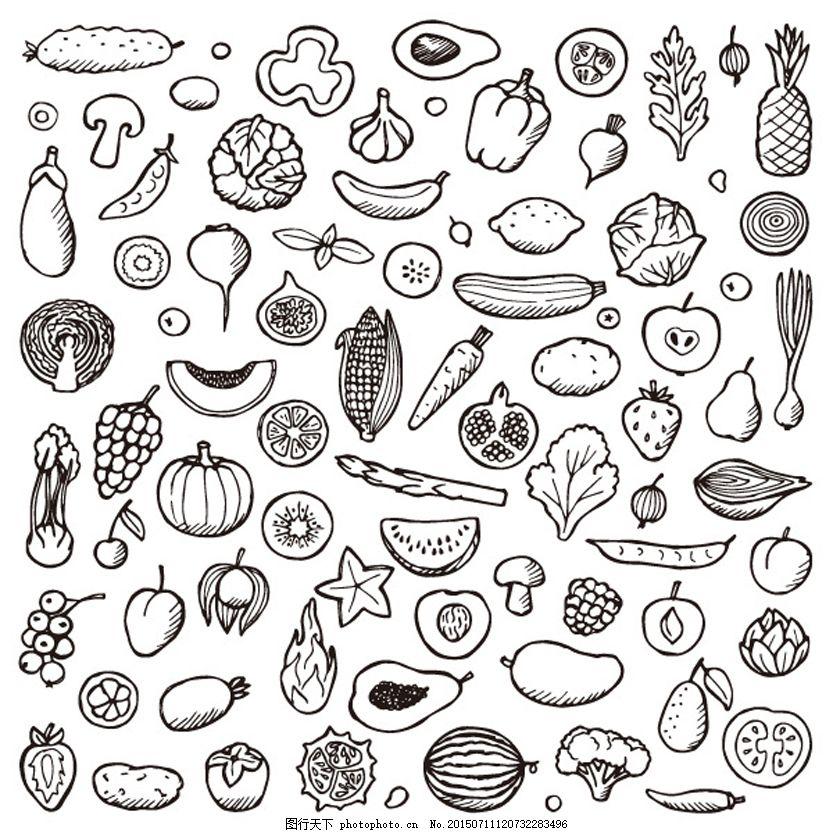 食物手绘 生活百科 矢量素材 美味食品 黑白绘画 底纹背景 白色