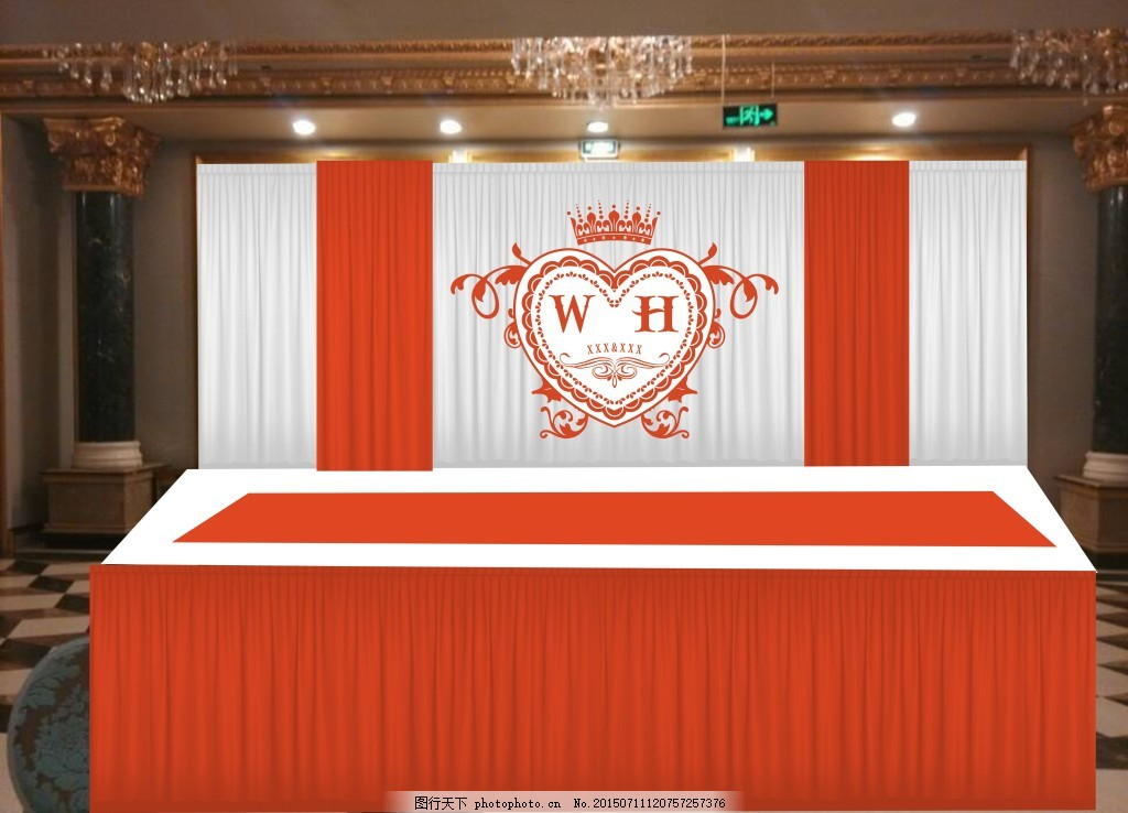 婚礼舞台效果免费下载 布幔 底纹 红色 花 婚庆 金色 喜字 中式