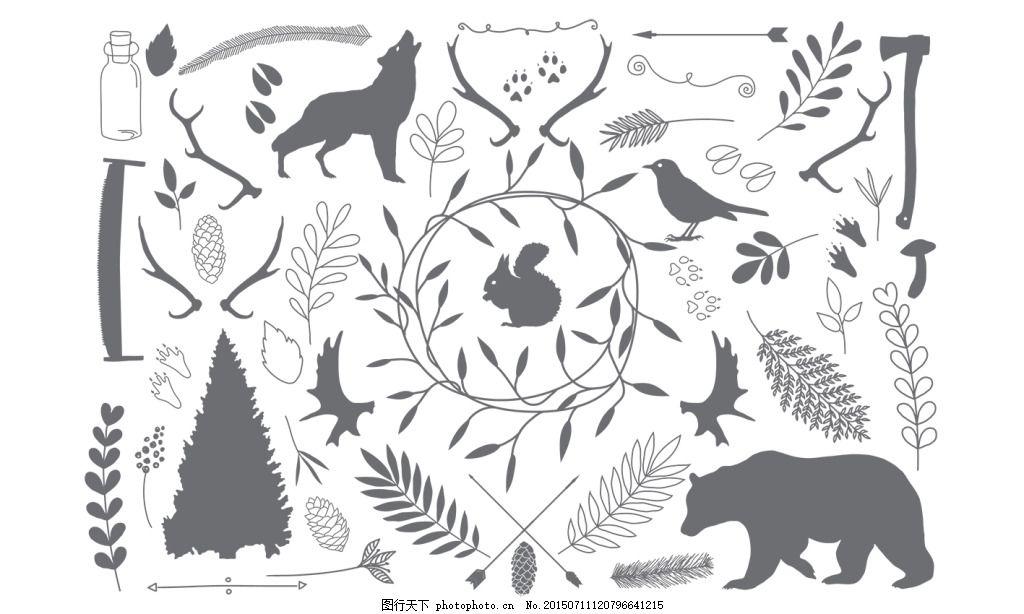 森系矢量植物动物熊
