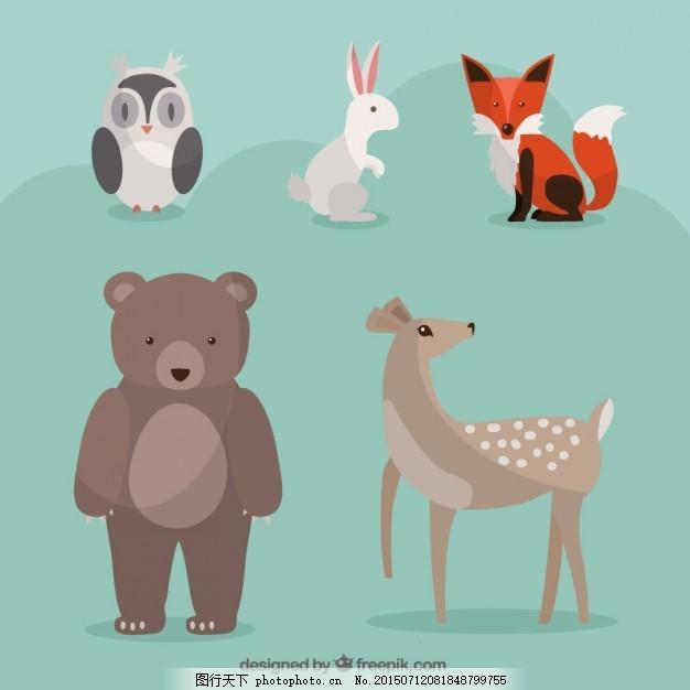 一只手画的可爱的野生动物