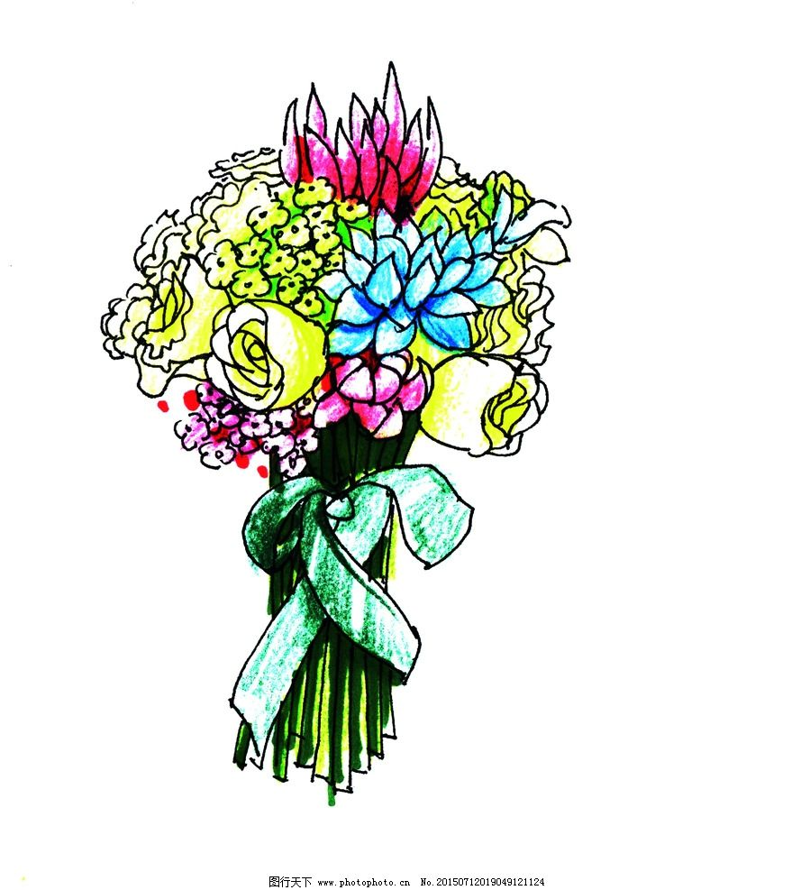 婚礼手绘新娘捧花—兰尼斯图片
